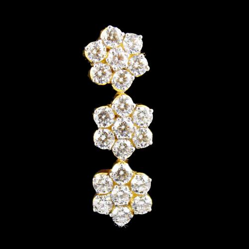 Gold Plated CZ Stones Party Wear Drops Earrings