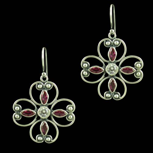 Oxidized Silver Red Corundum And CZ Stones Hanging Earrings