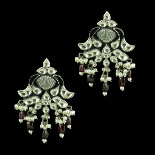 Oxidized Silver Kundan And Garnet Stones Pearl Beads Drops Earrings