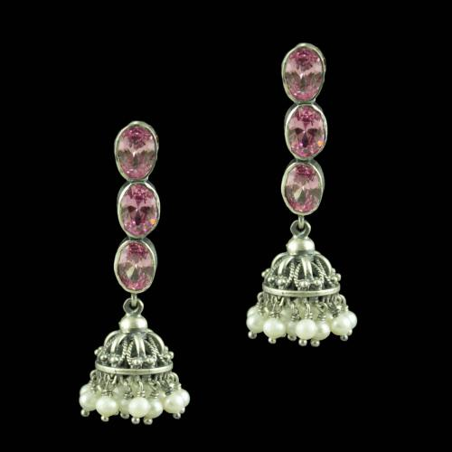 Oxidized Silver Pink Tourmaline Stones And Pearl Beads Jhumkas