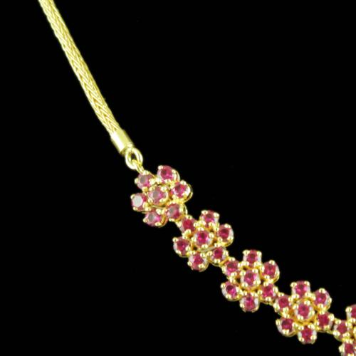 Gold Plated Red Corundum Stones Party Wear Necklaces