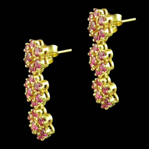 Gold Plated Red Corundum Stones Party Wear Earrings