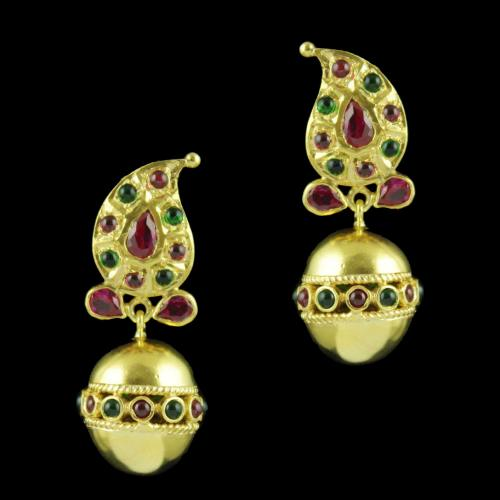 Gold Plated Mango Design Earrings With Red Corundum And Onyx Stones
