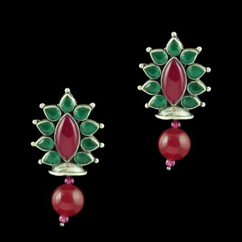 Oxidized Silver Floral Design Earrings With Green Hydro Red Onyx Stones And Red Corundum Beads