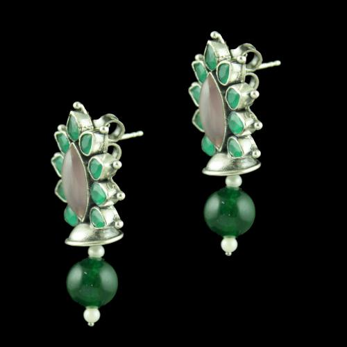 Oxidized Silver Floral Design Earrings With Green Hydro Pink And Green Onyx Pearl Beads