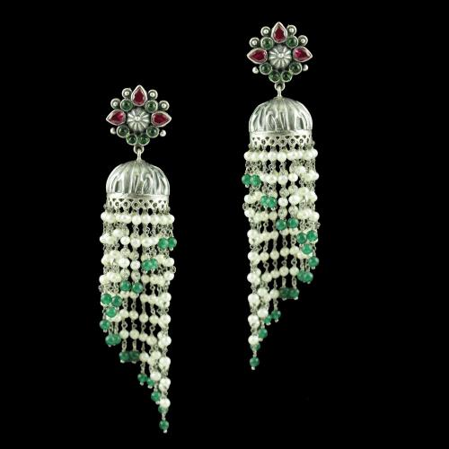 OXIDIZED SILVER JHUMKAS STUDDED RED AND GREEN CORUNDUM STONES WITH JADE PEARL BEADS