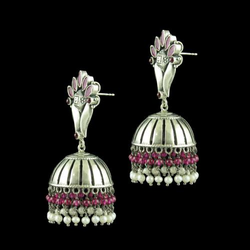 OXIDIZED SILVER JHUMKAS STUDDED RED CORUNDUM STONES AND PEARL BE