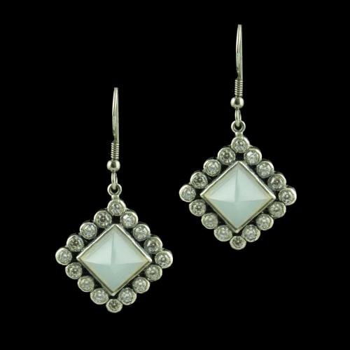 OXIDIZED SILVER HANGING EARRINGS STUDDED WHITE ONYX AND CZ STONES