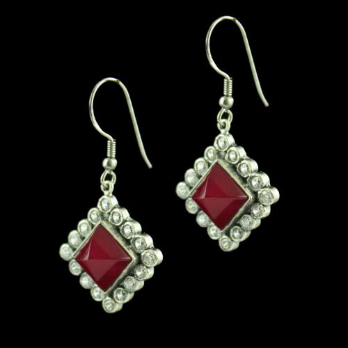 OXIDIZED SILVER HANGING EARRINGS STUDDED RED ONYX AND CZ STONES