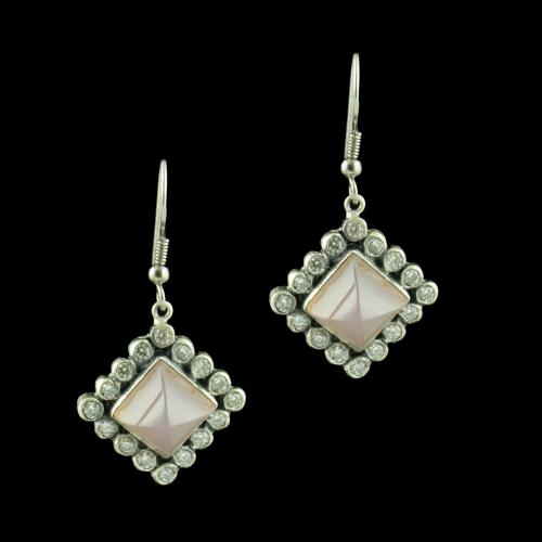 OXIDIZED SILVER HANGING EARRINGS STUDDED PINK ONYX AND CZ STONES