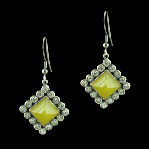 OXIDIZED SILVER HANGING EARRINGS STUDDED YELLOW ONYX AND CZ STONES