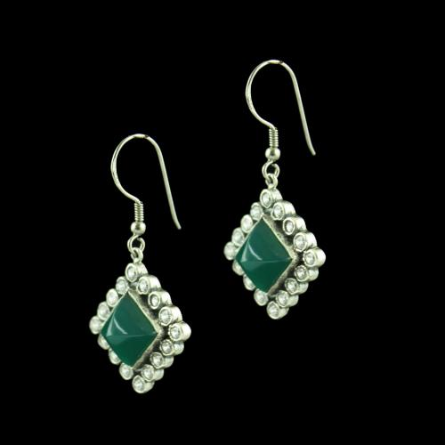 OXIDIZED SILVER HANGING EARRINGS STUDDED GREEN ONYX AND CZ STONES