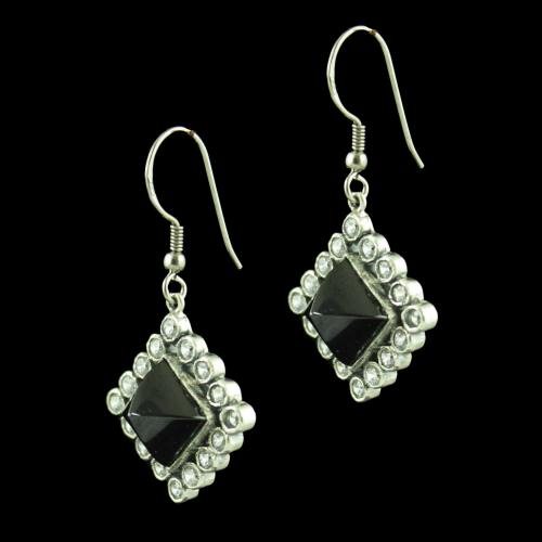 OXIDIZED SILVER HANGING EARRINGS STUDDED BLACK ONYX AND CZ STONES