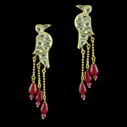 GOLD PLATED PARROT DESIGN KUNDAN STONES EARRINGS WITH RUBY BEADS
