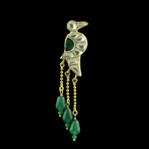 GOLD PLATED PARROT DESIGN KUNDAN STONES EARRINGS WITH JADE BEADS