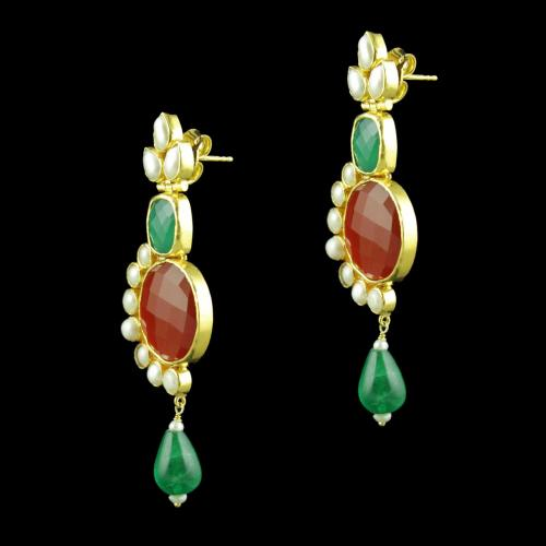 GOLD PALTED RED GREEN ONYX AND PEARL STONES DROPS EARRINGS