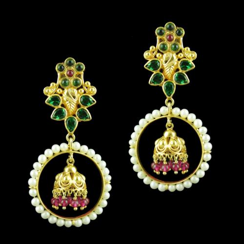 GOLD PLATED DROPS EARRINGS STUDDED WITH SEMIPRECIOUS STONES