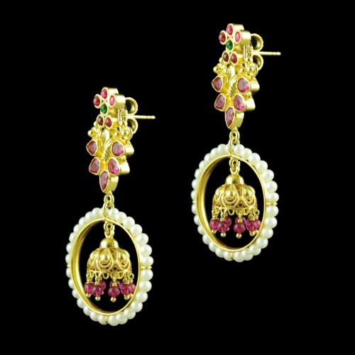 GOLD PLATED DROPS EARRINGS STUDDED PEARL AND RED CORUNDUM STONES