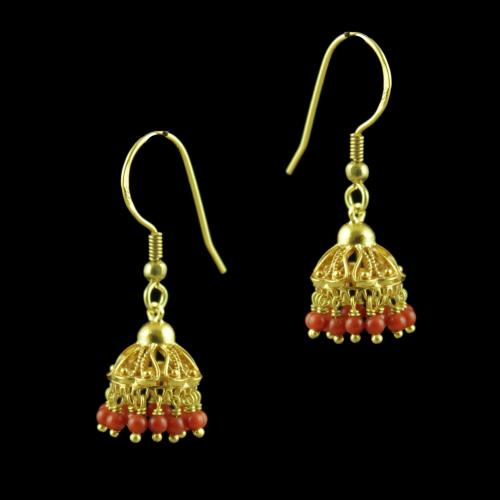 GOLD PLATED CORAL BEADS JHUMKAS EARRINGS