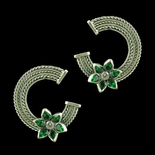 OXIDIZED SILVER CZ AND GREEN HYDRO STONE EARRINGS