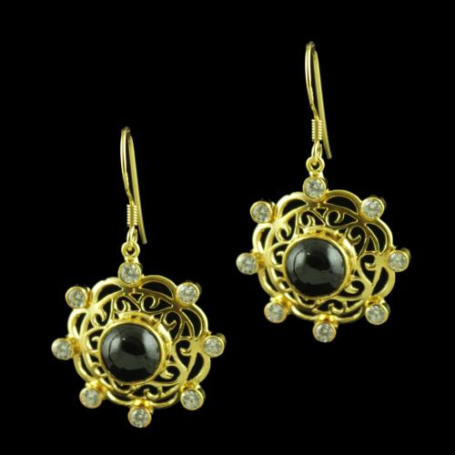 GOLD PLATED CZ AND ONYX STONE HANGING EARRINGS