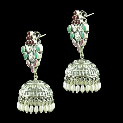 OXIDIZED SILVER JHUMKAS STUDDED RED CORONDUM AND GREEN HYDRO STONES WITH PEARL