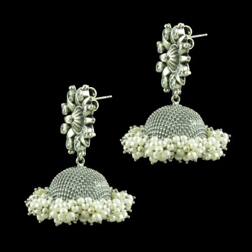 OXIDIZED SILVER JHUMKAS STUDDED CZ STONES AND PEARLS