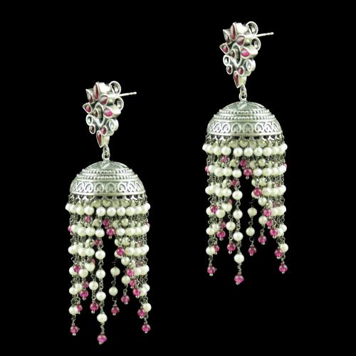 OXIDIZED SILVER JHUMKAS STUDDED RED CORONDUM STONES AND PEARL