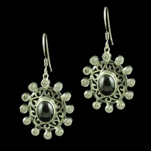 OXIDIZED SILVER CZ AND ONYX STONE HANGING EARRINGS