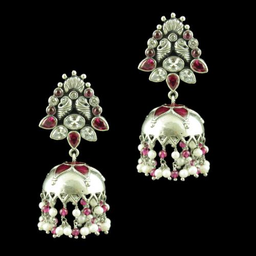 OXIDIZED SILVER JHUMKAS STUDDED CZ AND RED CORONDUM STONES WITH PEARL