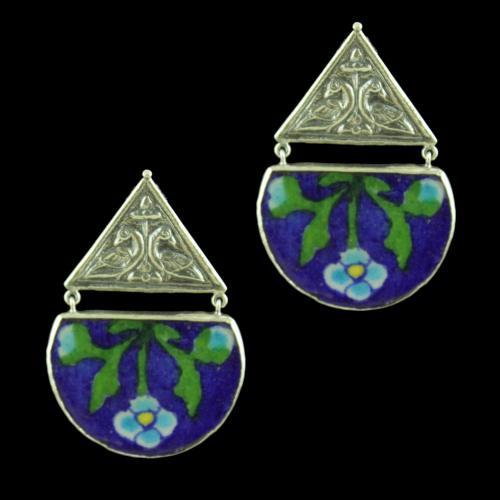 OXIDIZED SILVER BLUE POTTERY EARRINGS