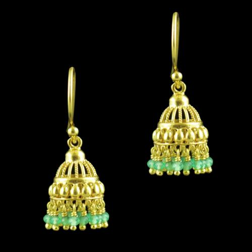 GOLD PLATED HANGING JHUMKA EARRINGS WITH JADE BEADS