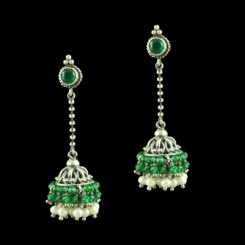 OXIDIZED SILVER CHAIN DROPS JHUMKA WITH GREEN HYDRO AND PEARL BEADS