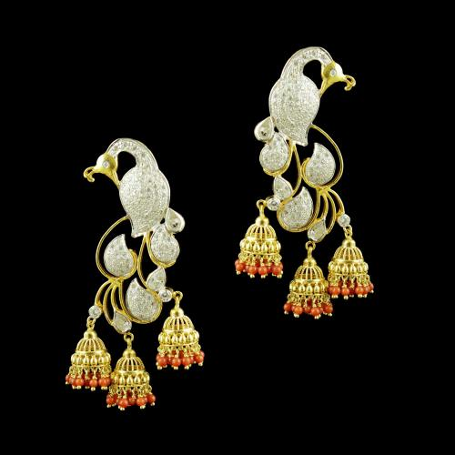 GOLD PLATED PEACOCK WITH CZ STONES AND CORAL BEADS