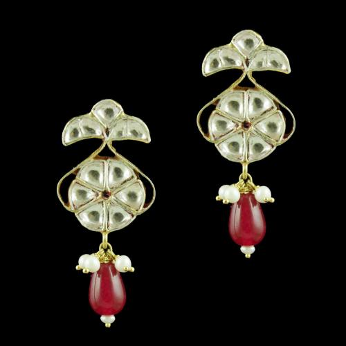 GOLD PLATED KUNDAN STONE EARRINGS