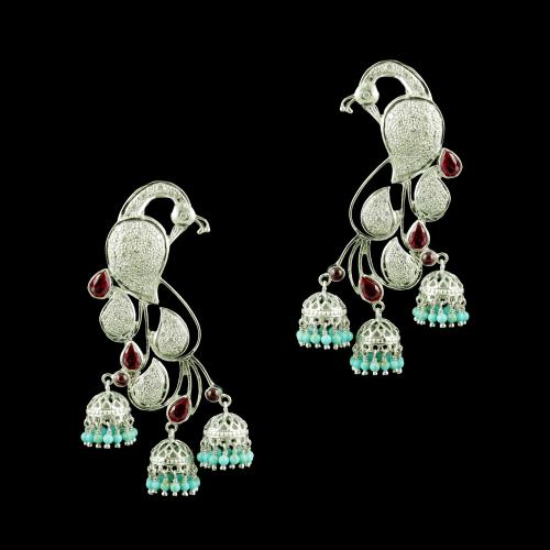 SILVER PEACOCK EARRINGS WITH RED CORUNDUM CZ AND TURQUOISE BEADS