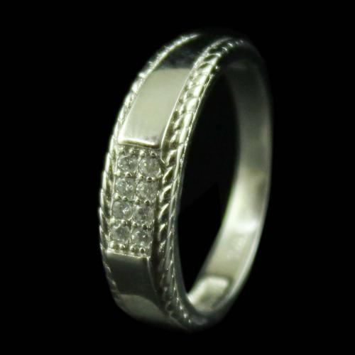 R6709 Sterling Silver Ring Studded Zircon Stones