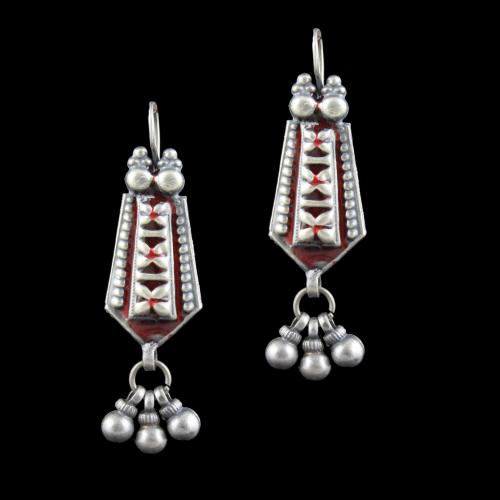 MEENA AND FANCY OXIDIZED SILVER HANGING EARRINGS