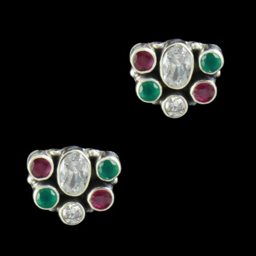 SILVER FLORAL DESIGN OXIDIZED EARRINGS WITH RUBY EMERALD AND CZ STONES