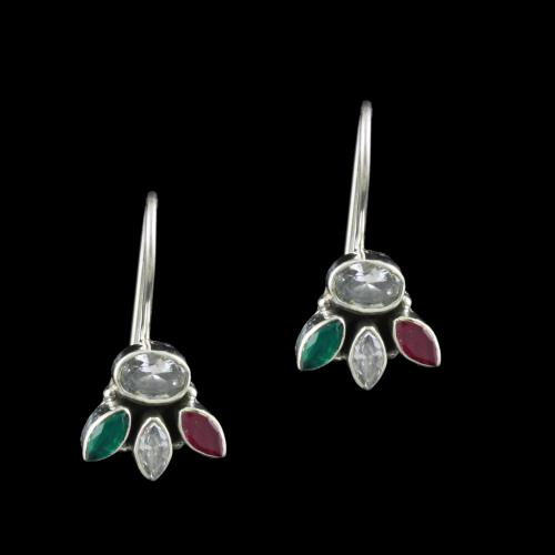 SILVER FLORAL DESIGN OXIDIZED EARRINGS WITH CZ STONES