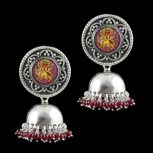 OXIDIZED SILVER HAND PAINTING JHUMKA WITH GARNET BEADS