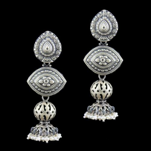 SILVER OXIDIZED DROPS EARRINGS STUDDED WITH PEARL BEADS
