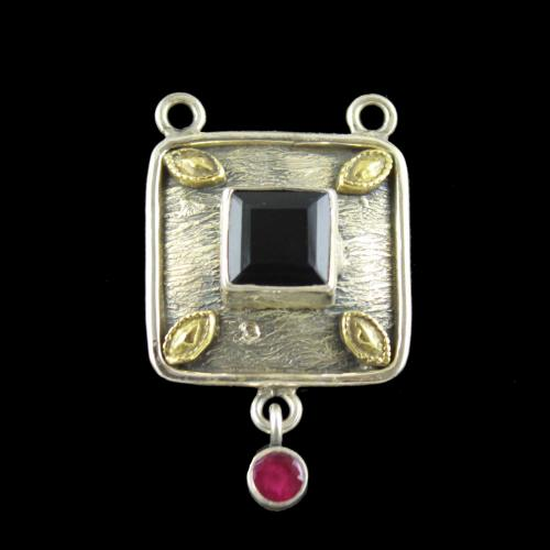 OXIDIZED SILVER PENDANT WITH BLACK AND RED ONYX STONES