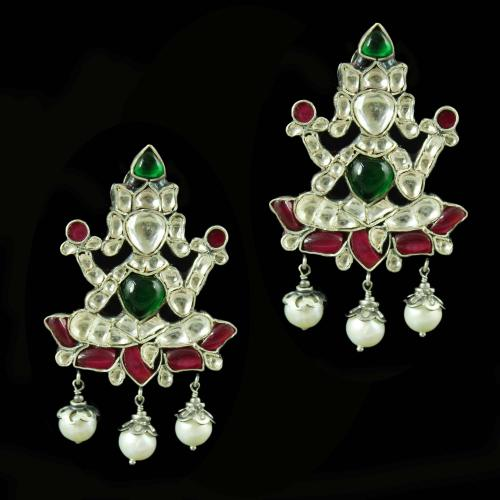 OXIDIZED LAKSHMI DESIGN KUNDAN STONE EARRINGS