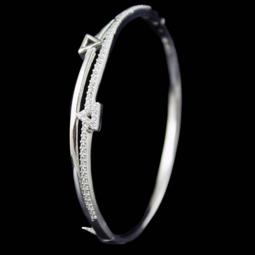 STERLING SILVER CZ STONE LOCK BANGLE