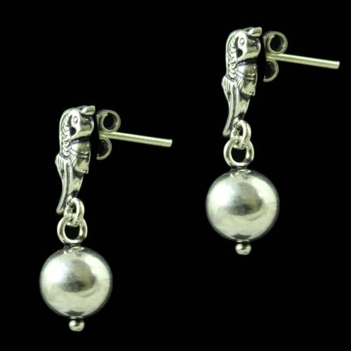 92.5 Silver Oxidized Floral Earrings Studded Beads And Pearls