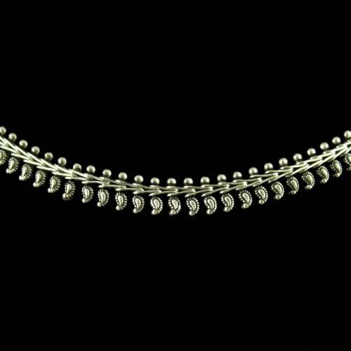 Silver antique design oxidized necklace Semi precious Stones