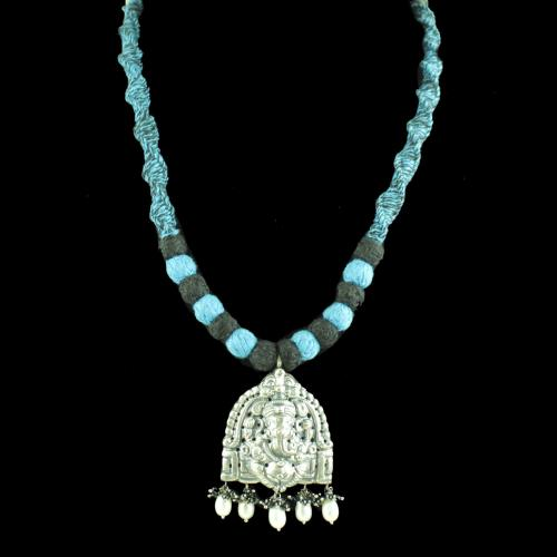 OXIDIZED GANESHA THREAD NECKLACE WITH PEARL AND BLACK SPINEL BEADS