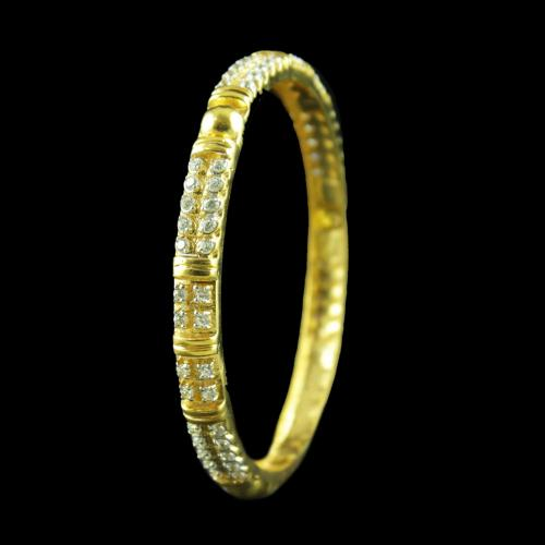 GOLD PLATED CZ STONE BANGLE