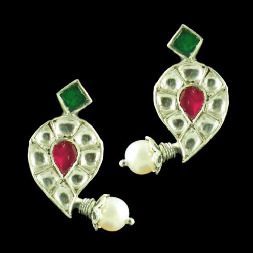 OXIDIZED FLORAL KUNDAN AND PEARL EARRINGS